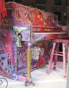 Rhinestone Art Piano by Brian Siewert in Store Window in Downtown Franklin, TN  VivaNashVegas.com