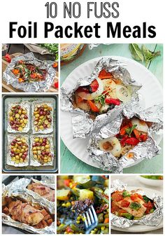 Easy no fuss foil packet meals! No cleaning involved. Great in the oven & on the… Easy no fuss foil packet meals! No cleaning involved. Great in the oven & on the grill. Foil Packet Dinners, Foil Pack Meals, Tin Foil Dinners, Grilling Recipes, Cooking Recipes, Healthy Recipes, Easy Recipes, Campfire Recipes, Campfire Stew