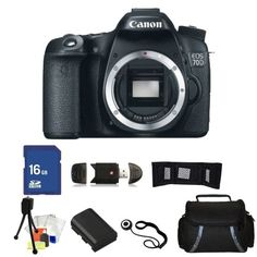 SALE Canon EOS 70D 20.2 MP Digital SLR Camera (Body Only) Kit. Includes: 16GB Memory Card, High Speed Card Reader, memory Card Wallet, High Capacity Replacement Battery, Carrying Case & More