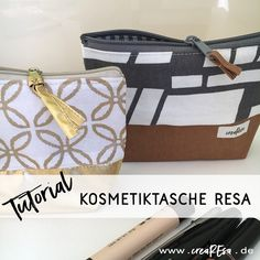 Sewing cosmetic bag - also for beginners - crearesa. Make sure that the wrap meets the seam or just next to the seam. Sewing Patterns Free, Free Sewing, Bag Patterns, Fat Quarter Projects, You Look Beautiful, Textiles, Little Bag, Sewing Projects For Beginners, Sewing Hacks