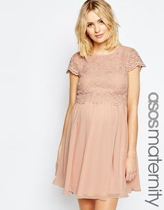 ASOS Maternity Skater Dress With Lace Crop Top