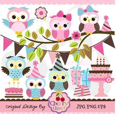 Pink Brown and Blue cute owls birthday digital by Cherryclipart,