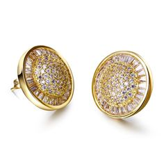 Fashion round Stud Earrings for girl gold plated with CZ stone wedding party Earring body jewelry Free shipment