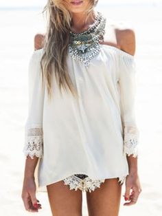 Shop White Off The Shoulder Lace Sleeve Blouse from choies.com .Free shipping Worldwide.$13.9