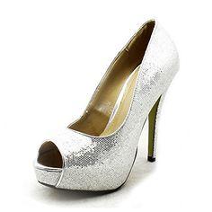Silver sparkly peep toe platform high heel party shoes - Damen pumps (*Partner-Link)