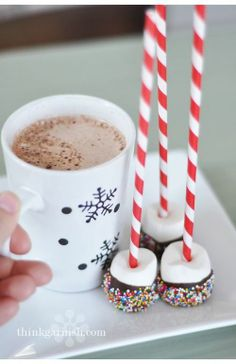 Hot Cocoa and marshmallow dippers covered in chocolate and sprinkles. Perfect for a rainy day.