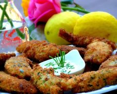 Crispy Lemon-Herbed Chicken Fingers with Chive-Garlic Aioli | Healthy Dinner Recipes