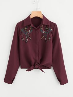 Shop Plus Floral Embroidered Knot Hem Blouse online. SHEIN offers Plus Floral Embroidered Knot Hem Blouse & more to fit your fashionable needs. Purple Blouse, Green Blouse, Look Fashion, Fashion News, Womens Fashion, Outfits For Teens, Cute Outfits, Indian Blouse, Sleeveless Hoodie