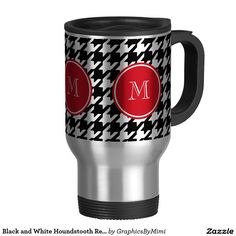 Travel Mug Black and White Hounds tooth Red Monogram .....