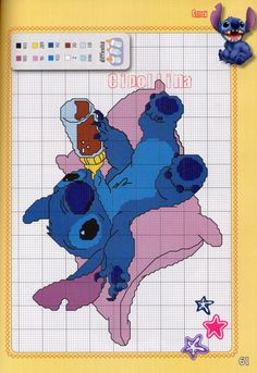 Lilo stitch surfing free cross stitch pattern crafts for Lilo and stitch arts and crafts
