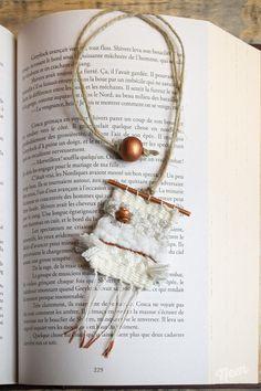 Marque-pages tissage en laine blanc et cuivre : Marque-pages par nemshop