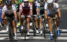 Where did you come from? Mark Cavendish (left) looks across at German rider Marcel Kittel as they cross the linePhoto: GETTY IMAGES