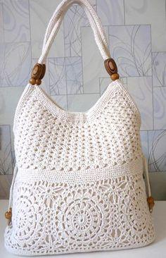Вязание сумок крючком со схемами - сумка белая