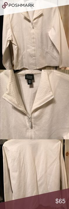 Eileen Fisher White Zipfront Jacket Size XL New without tag white washable white waffle print white cotton jacket Zip Front slant pockets size XL Eileen Fisher Jackets & Coats Blazers