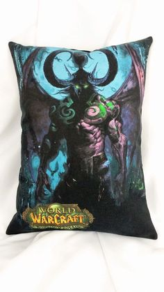 Get very retro with the first expansion. This video game bedding is made from a World of Warcraft tshirt. It features the night elf Illidan Stormrage, The Betrayer, Lord of Outland, Ruler of the Naga,