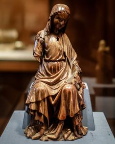 Enthroned Virgin and Child, Elephant ivory with traces of paint and gilding, Paris, ca. The Cloisters, Medieval Art, Art Museum, Elephant, Ivory, Child, Statue, Painting, French