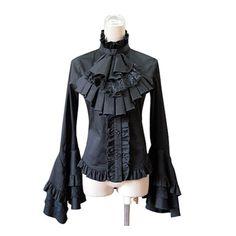 Victorian Gothic Steampunk BustleTailcoat Con Volados Manga Larga Blusa Camisa Ml XL