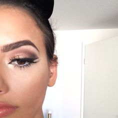Luv the nude smokey eye with white eyeliner on the bottom lid to make everything pop!