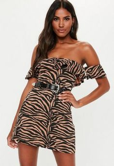 a jersey skater dress in zebra print with bardot frill detail. regular fit Mini - Sits mid thigh Polyester Cotton Elastane Noara wears a UK size 8 / EU size 36 / US size 4 and her height is Petite Dresses, Dresses Uk, Dresses Online, Cute Dresses, Fashion Dresses, Shift Dresses, Bardot, Dress Down Day, Mini Skater Dress