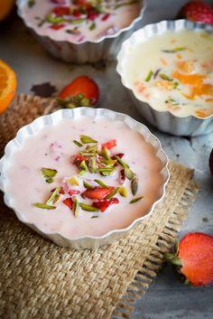Indian dessert Rabdi flavoured with strawberry puree and orange segments.  #dessert #indian #strawberry