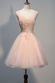 Blush Pink Lace Beaded Backless V-neck Homecoming Dresses