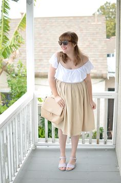 Palm Spring Neutrals | Unique Vintage white off the shoulder top, Ruche tan pleated skirt and bag, Old Navy lavendar sandals, Modcloth cat eye sunglasses