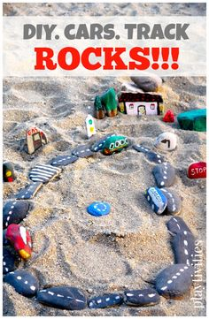 DIY car track with cars, gas station, some street signs, trees and a house is finally in our sandbox and on the blog of course for you to see. Instead of spending hundreds of dollars on plastic car tracks (that will be broken and lost in no time)