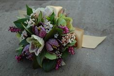 Spring bouquet of snake's head fritillary, hellebores and heather from www.petalandtwig.co.uk