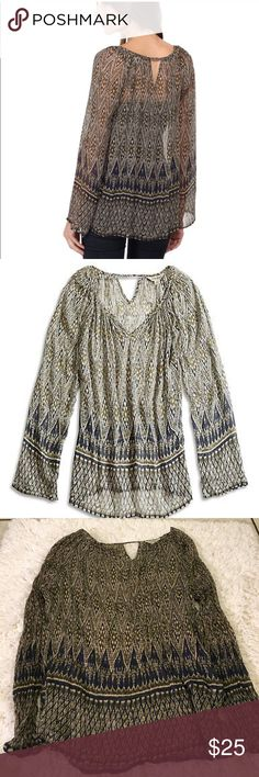 lucky brand green ikat sheer boho top Gently used great condition Lucky Brand Tops Tees - Long Sleeve