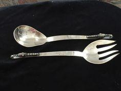 F. Ramirez Hecho en Mexico Sterling Serving Fork & Spoon Blossom Arts & Crafts #FRamirez