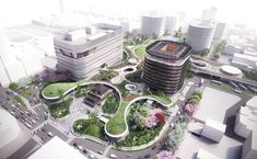 Mecanoo Connects a City with a Landscaped Roof Canopy of a newly designed transportation hub in Taiwan