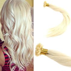 Keratin U Tip Bleach Blonde Human Hair Extensions #60