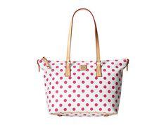 Dooney & Bourke Polka Dot Zip Top Shopper White/Fuchsia w/ Vac Trim - Zappos.com Free Shipping BOTH Ways