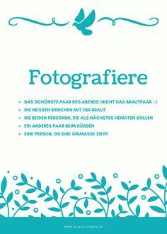 Ihr habt auf Eurer Hochzeit Einwegkameras? Dann gebt den Gästen doch gezielte Foto-Aufgaben damit Ihr auch sicher die Bilder bekommt, die Ihr haben wollt.