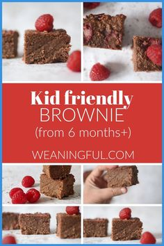 This is a quick and easy brownie recipe which is both healthy and great for little fingers to enjoy from 6 months and up, as it has no refined sugar. It has a soft texture and uses beans as a key ingredient. Healthy Baby Food, Healthy Meals For Kids, Meals For One, Easy Healthy Recipes, Healthy Desserts, Baby Food Recipes, Kids Meals, Baby First Foods, Baby Finger Foods