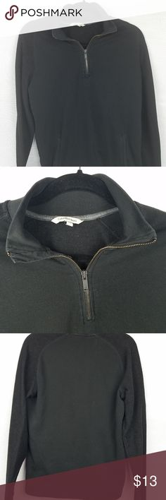 Clavin Klein Jeans Black Cotton Sweater M pockets This is a men's black zip up neck sweater with pockets that go all the way through the other side but yet looks streamlined and not bulky.  77% Cotton 23% Polyester. Calvin Klein Jeans Sweaters Zip Up