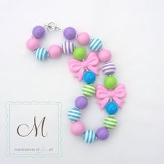 Pastel Solids and Stripes Chunky Beads Girls Necklace with Bow Beads - Bubblegum Beads