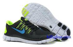 Billig Schuhe Damen Nike Free 5.0 + (Farbe:Vamp-schwarz,innen-gelb,Logo-blau;Sohle-weiB) Online Laden.
