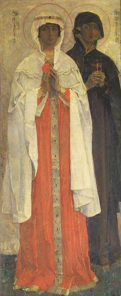 Нестеров М.. Праведная Марфа и праведная Мария. 1909
