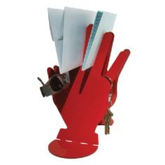 "Bill and a Prayer from the Red Hot Hands Collection by The Other Edge: Cut from sheet metal and powder coated red to give you a ""hand"" where you need it. My Favorite Color, My Favorite Things, Hot Hands, Powder Coating, Sheet Metal, Bookends, Prayers, Colors, Red"