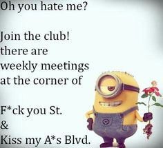 Funny Minion Pictures Below are some very funny minions memes, and funny quotes, i hope you will enjoy them at your best . and why not whatever minions do they always look funny and stupid . So make sure to share the best minions with your friends . Funny Minion Pictures, Funny Minion Memes, Minions Quotes, Funny Jokes, Funny Humour, Funny Shit, Top Funny, Haha Funny, Hilarious