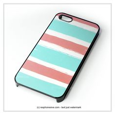 Blue Coral Colorblock Stripe iPhone 4 4S 5 5S 5C 6 6 Plus , iPod 4 5 , Samsung Galaxy S3 S4 S5 Note 3 Note 4 , HTC One X M7 M8 Case