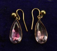 Georgian Pink Foiled Paste Drop Earrings, 15K, 9K wires, 1820s.