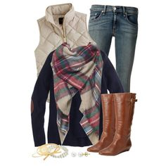A fashion look from November 2014 featuring holiday sweater, brown vest and low rise jeans. Browse and shop related looks.