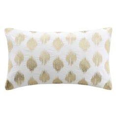 Nadia Dot Embroidered Cotton Lumbar Throw Pillow