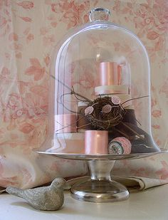 Bennison Roses Fabric  Cast Stone Bird  Dorothy Thorpe Silver on Crystal  Cake Stand  Glass Cloche Vintage Silk Ribbon Trim