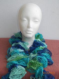 Free Shipping in U.S.A - Twist - Crochet Ruffle Scarf - Sashay Crochet Scarf - Blues Greens Sashay Yarn - Colorful Ruffle Scarf Yarn Sale on Etsy, $14.00