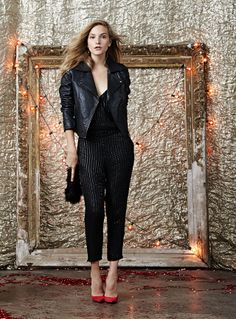 Parker beaded jumpsuit and LaMarque moto jacket
