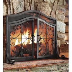 Small Crest Fireplace Screen with Doors Copper Wrought Iron Ornamental Scroll Fireplace Screens With Doors, Fireplace Doors, Fireplace Tool Set, Small Fireplace, Concrete Fireplace, Faux Fireplace, Fireplace Inserts, Fireplace Surrounds, Fireplace Design