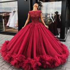 Luxurious Scoop Ball Gowns Burgundy Long Prom Dresses Birthday Dresses on Luulla Ball Gowns Evening, Ball Gowns Prom, Party Gowns, Ball Dresses, Evening Dresses, Prom Dresses, Formal Dresses, Formal Prom, Prom Party